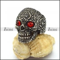 Antique Stainless Steel Flower Skull Ring with Red Rhinestone Eyes r003294