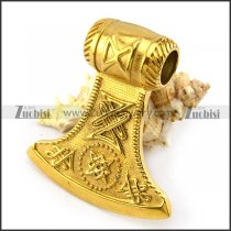 Big Golden Stainless Steel Axe Pendant p004812