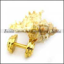 Big Yellow Gold Steel Dumbbell Pendant p004720
