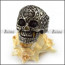 Dark Black Rhinestones Eyes Flower Skull Ring r004301