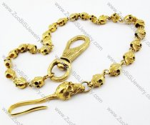 Gold Stainless Steel Skull Wallet Jean Chain with 25 Skull Head -JY010002
