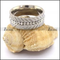 Stainless Steel Rhinestones Wedding Ring r003420