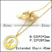 Gold Plated R Charm Neckalce n001707