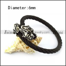 Two Dragon Heads Black Stainless Steel Wire Bangle b005833