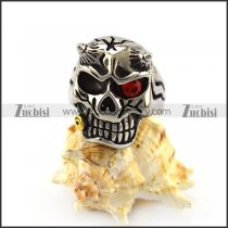 Solid Back One Red Crystal Eye Viking Skull Ring Biting Bullet r004913