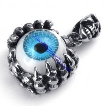 Blue Evil Eye Ball Skull Pendant in Stainless Steel -JP450008