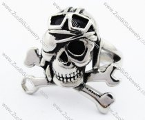 Stainless Steel Biker Skull Ring with Spanner -JR330073