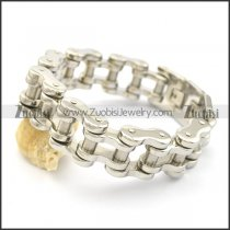 high polishing motorcycle bike chain bracelet with dull polish column in middle b002790