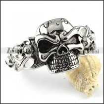 Mens' Big Stainless Steel Skull Bangle - b000093