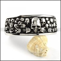 Horrible Stainless Steel Multi Skull Head Bangle for Punk fans - b000096