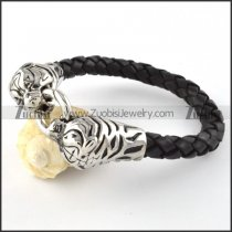 Real Leather Stainless Steel Tiger Bracelet - b000443