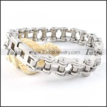0.58 inch wide Stainless Steel Motorcycle Chain Bracelet - b000356
