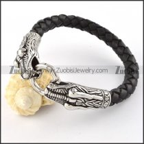 PU Leather Stainless Steel Double Dragon Heads Bracelet - b000441