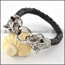Read Leather Stainless Steel Panther Bracelet - b000442