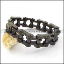 Large Black Stainless Steel Motrocycle Chain Bracelet -b000792