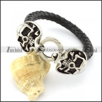 Two Sweet Heart Skull Heads Bracelet with Leather Cord -b001324