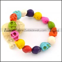 Elastic Colorful Resin Skull Heads Bracelet is Mexican Sugar Skull Jewelry -b001317