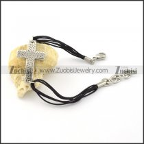 Fashion Stainless Steel Black Cord Bracelet -b001066