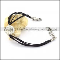 Fashion Stainless Steel Black Cord Bracelet -b001068