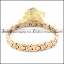 rose gold plating stainless steel bracelet CNC clear stones b001689
