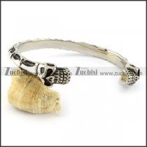 practical 316L steel twin skull bangles -b001554