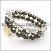 black and silver tone motorcycle chain bracelet b001642