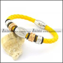 yellow 6mm wide steel leather bracelets b001607
