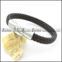 Black Braided Leather Bracelets with Clasp b001628