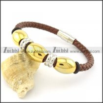 gold plating steel brown leather bracelets b001603