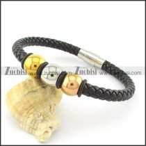 steel black leather bracelets b001616