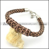 braided leather bracelet with OT buckle b001839
