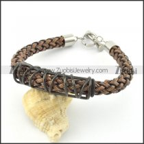 braided leather bracelet with OT buckle b001836