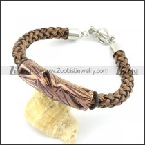 braided leather bracelet with OT buckle b001851
