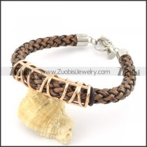 braided leather bracelet with OT buckle b001838