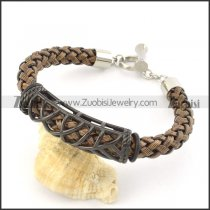 braided leather bracelet with OT buckle b001840