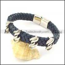 genuine leather bracelet in stainless steel b001921
