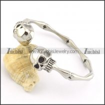 2 skull heads stainless steel bangle b001991