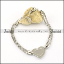 big heart charm bracelet with snake chain for ladies b002241