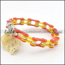 red and yellow motorcycle chain bracelet with clear crystals ball and steel tone clasp b002060