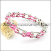 Silver and Pink Stainless Steel Bracelet for Women b002111
