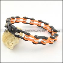 two tone black and orange biker chain bracelet with top grade crystal ball for unisex b002059