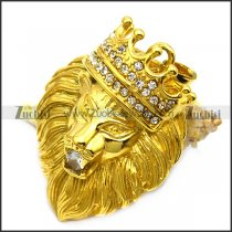 24K gold plating lion pendant with bling rhinestones p007560