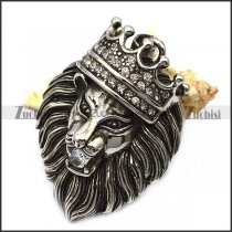 vintage steel lion pendant with bling rhinestones p007559