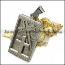 silver stainless steel cross dog tag p007504