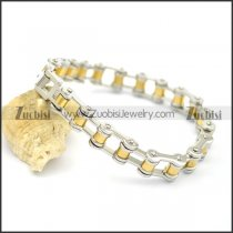bike chain bracelet with gold middle part for female biker b002423