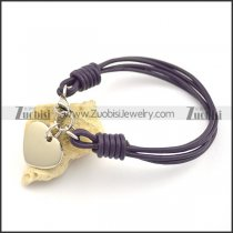 purple leather cord bracelet with heart charm b002556