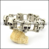 22cm long 7 skull heads chain bracelet b002612