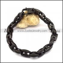 10mm black plating casting link chain bracelet b002708