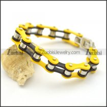 Yellow and Black Link Chain Bike Bracelet for Men b002827