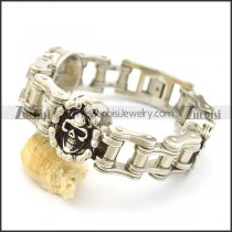 Bike Chain Bracelet with 3 Skull Chain Charms b003377